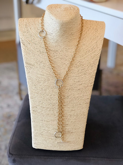 Rebel Necklace (Gold with Silver Toggles)