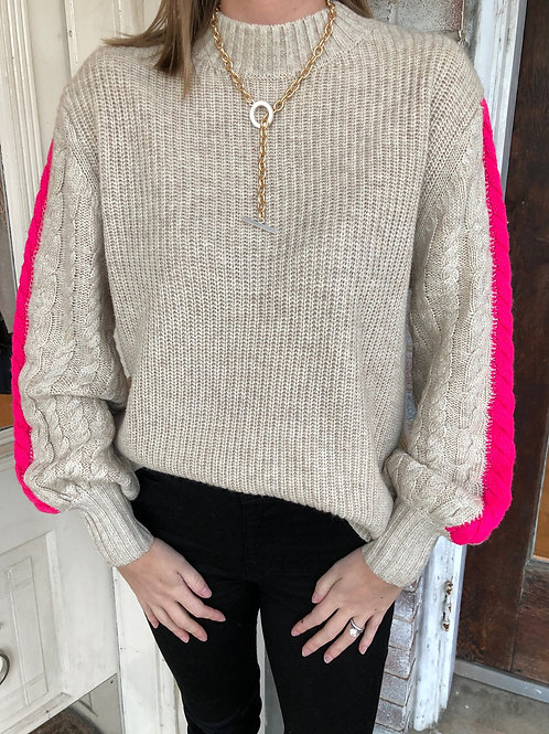 Rib Knit Sweater with Hot Pink Stripe