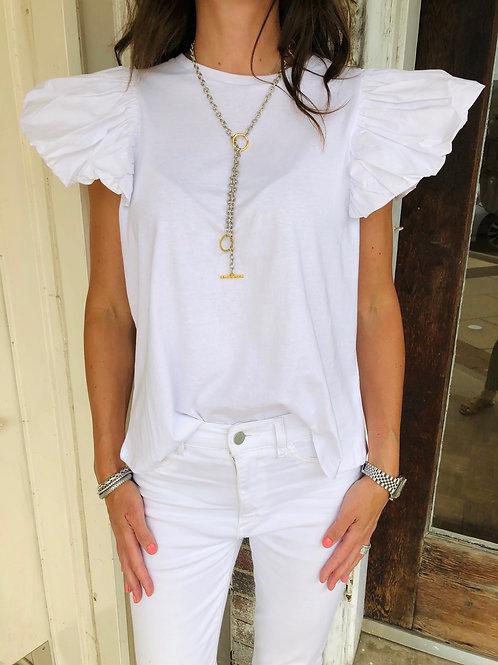 White Balloon Sleeve Top