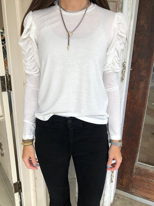 White Ruched Long Sleeve Top