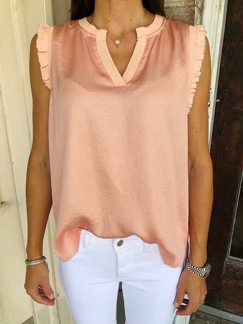 Peach  Metallic Rib Trim Top