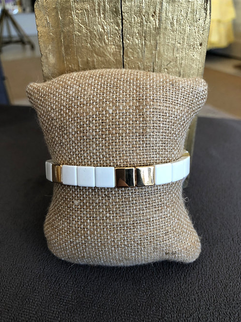 White Gold Tile Bracelet
