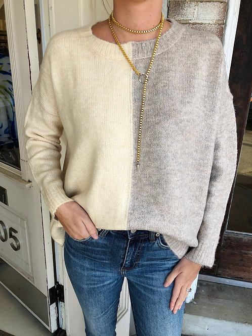 Beige Two-Toned Sweater