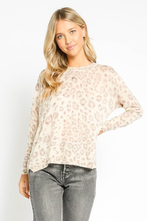 Taupe Leopard Side Zip Sweater