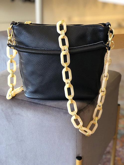 Navy Mid Size Leather Handbag