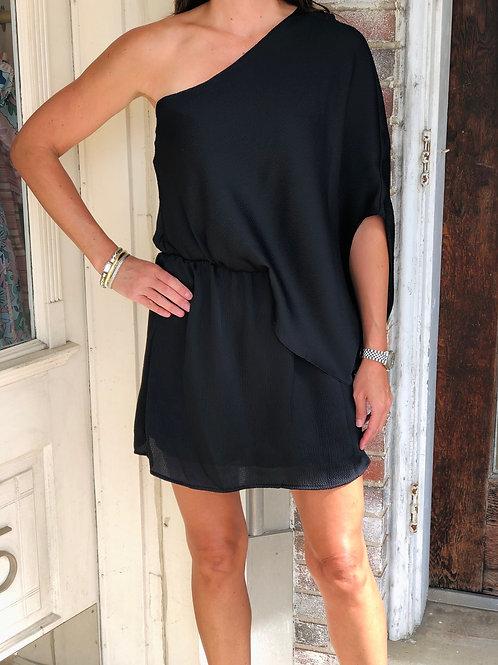 Black Satin One Shoulder Dress