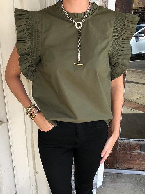 Olive Ruffle Sleeve Poplin Top