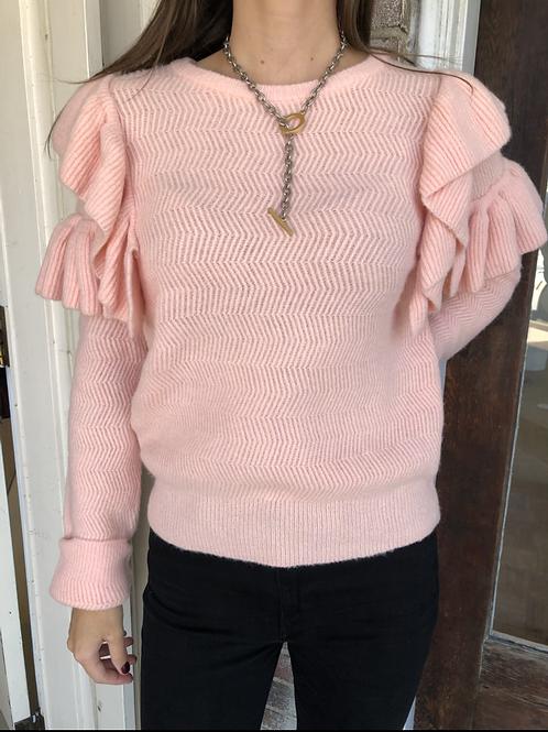 Pink Ruffle Detail Sweater