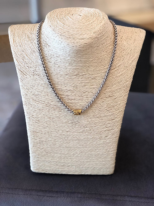 Eaves Necklace (Silver w/ Gold Barrel)