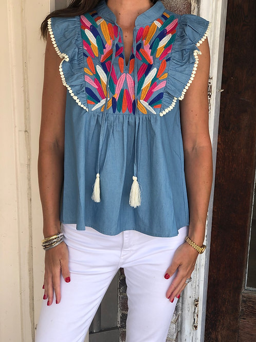 Blue Embroidered Tassel Top