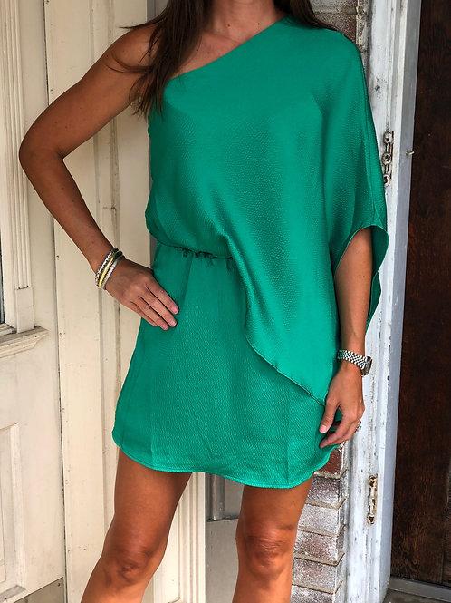 Green Satin One Shoulder Dress