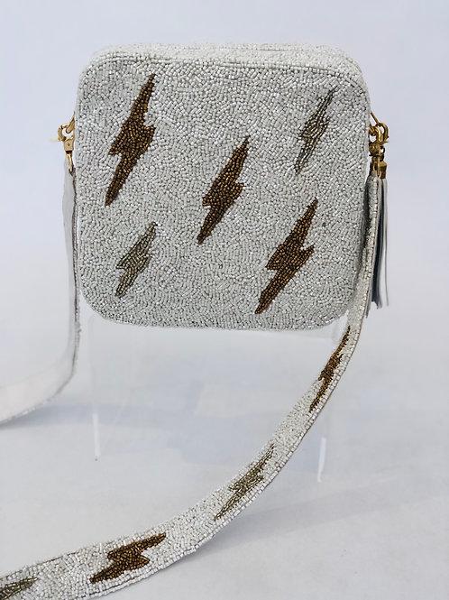 White/Gold Lightening Bolt Box Bag