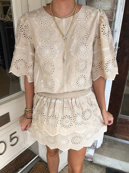 Beige Embroidered Skirt