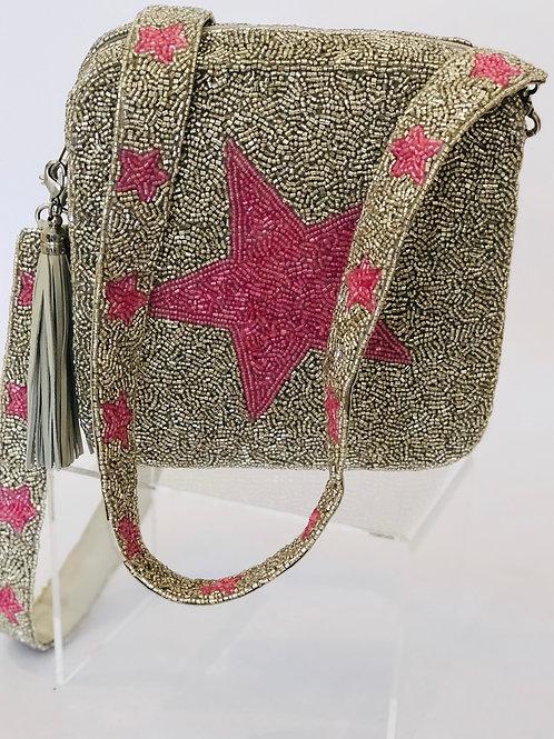 Pink/Silver Star Beaded Box Bag