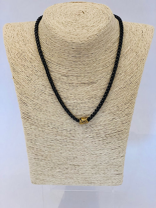 Eaves Necklace (Gunmetal, with Gold Barrel)