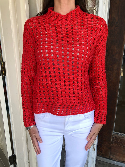 Red Crochet Sweater Top