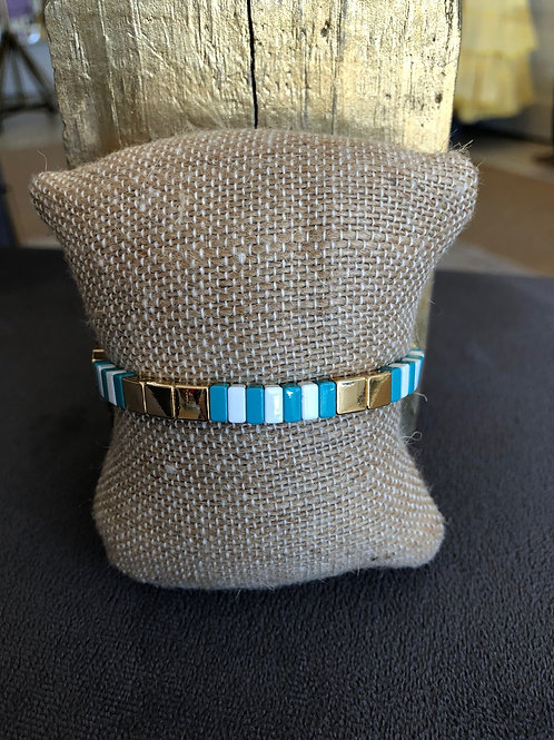 Blue/Gold/White Tile Bracelet