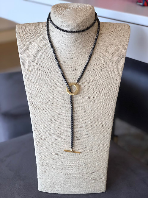Carmen Wrap Necklace (Hematite with Gold Toggle)