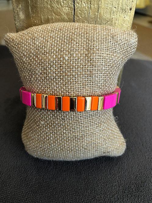 Hot Pink/ Orange/ Gold Tile Bracelet