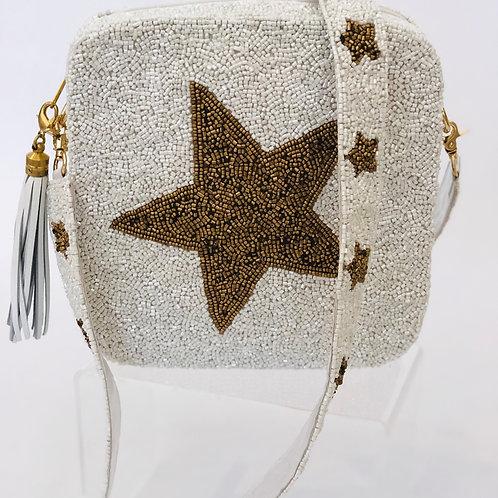 White/Gold Star Beaded Box Bag