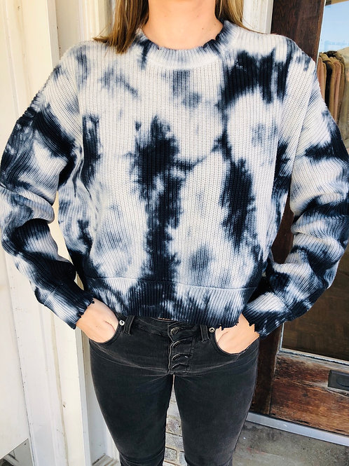 Midnight Cropped Tie Dye Sweater