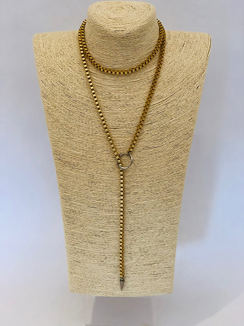 Dylan Necklace (Gold w/ Silver Toggle)