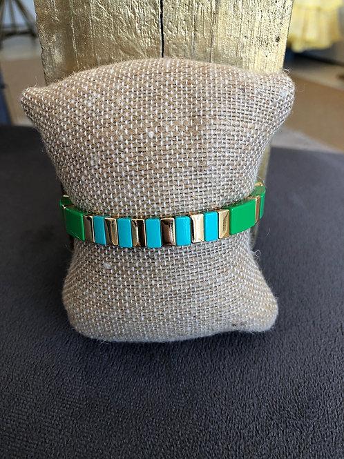 Green/Blue/ Gold Tile Bracelet