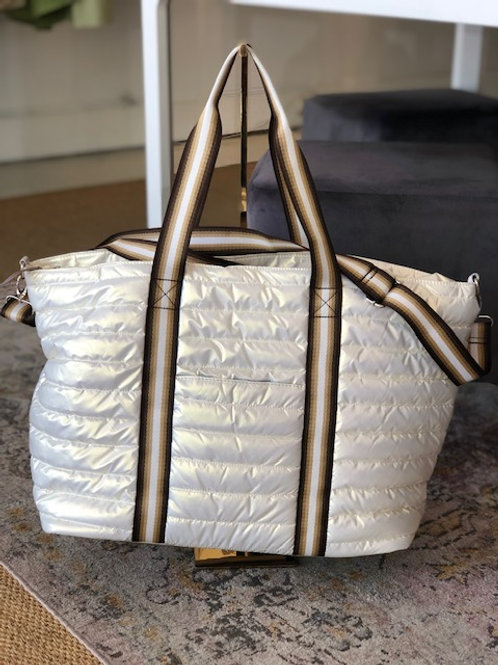 Large Puffer Tote (Pearl White)