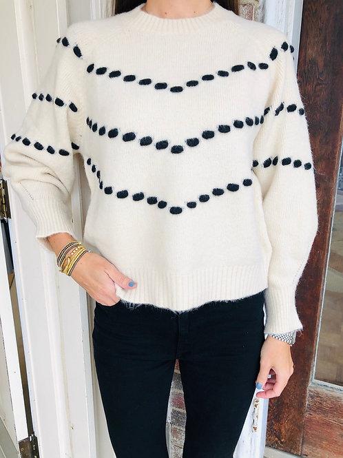 Cream/ Black Pom Pom Sweater
