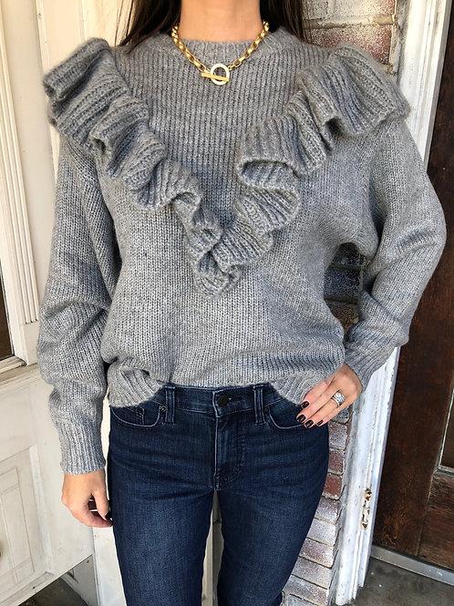 Heather Grey Front Ruffle Sweater