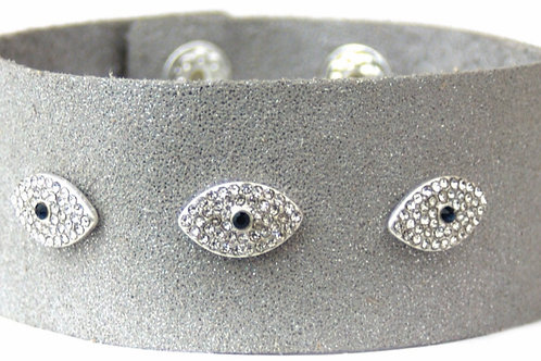 Evil Eye Leather Cuff (Grey)