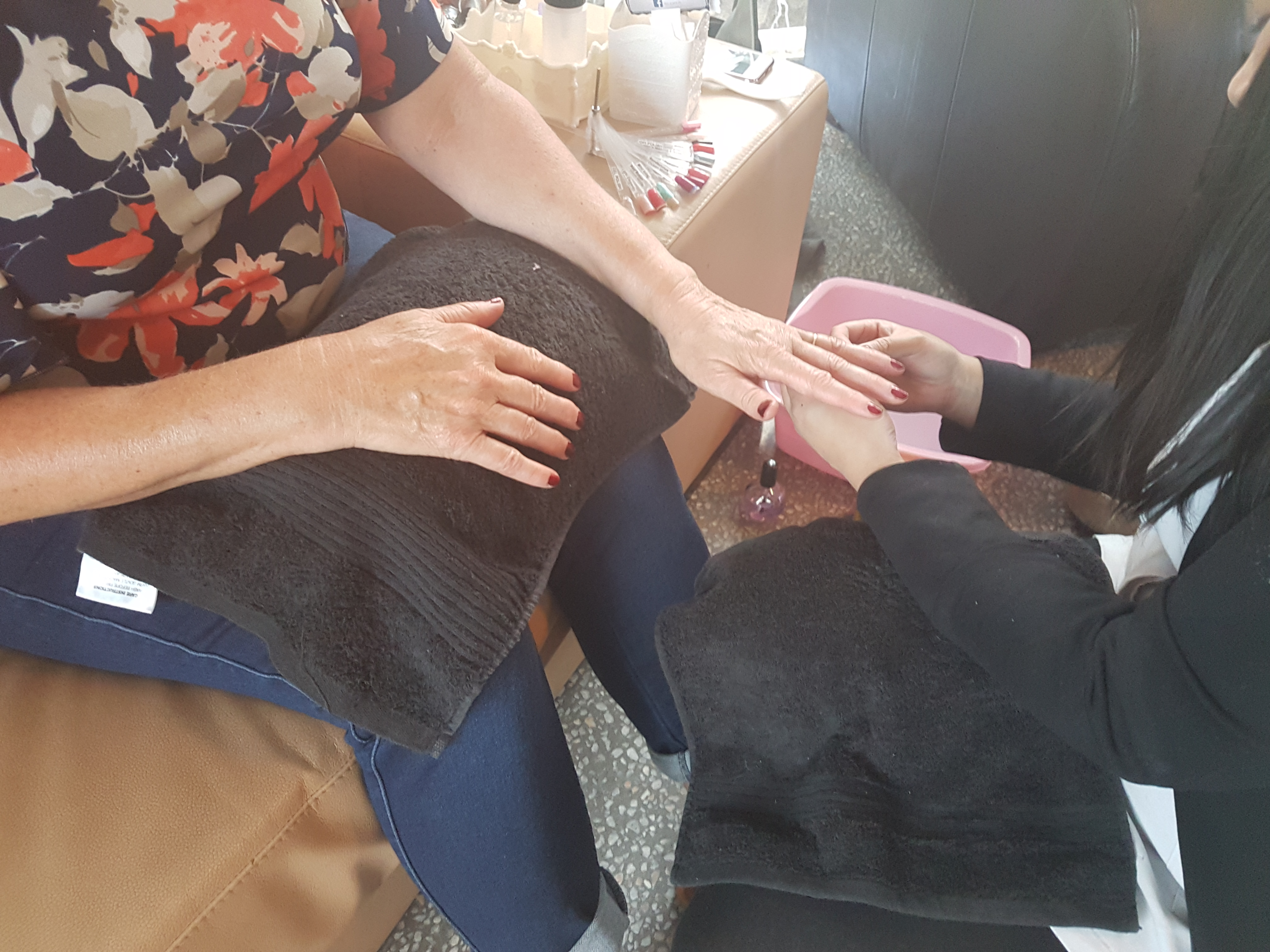 Guests getting manicured