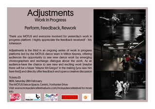 Adjustments: Work In Progress - Tickets now Available