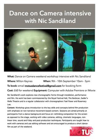 Dance On Camera Workshop with Nic Sandiland