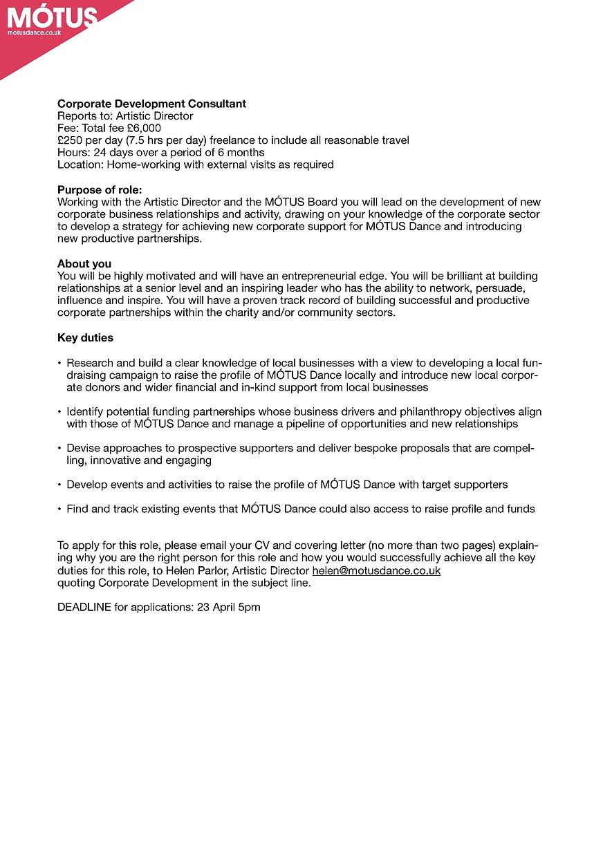 Corporate Development Consultant Job Cal