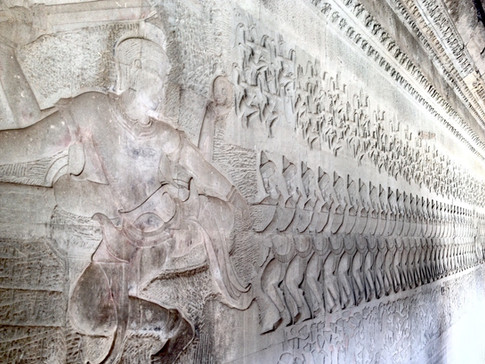 Intricate relief carvings tell ancient stories on the walls of the astonishing temples of Angkor Wat in Siem Reap, Cambodia