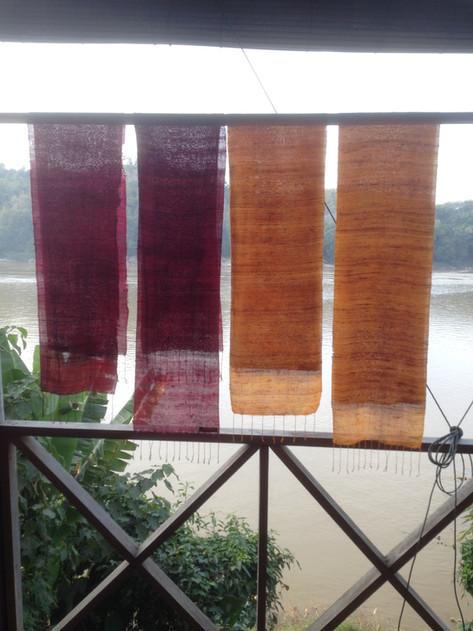 Silk weaver's village on the Mekong River in Luang Prabang, Laos
