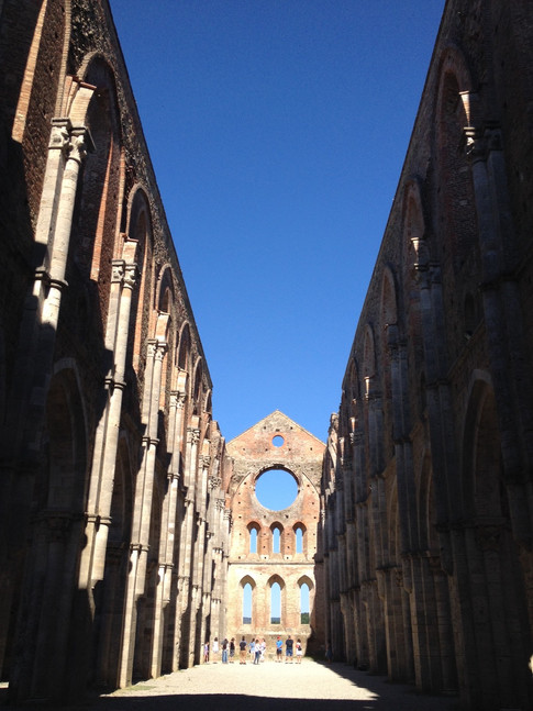 Stunning medieval ruins of the Abbey of San Galgano in Tuscany, Italy