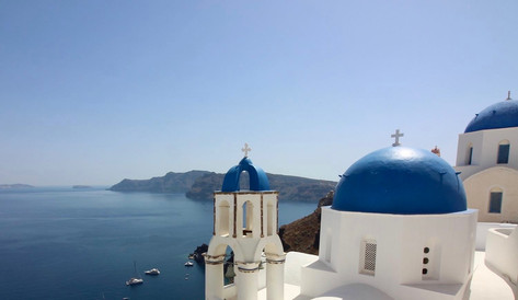The village of Oia, on the island of Santorini in Greece
