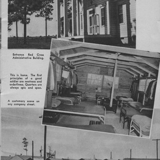 Red Cross building and interior of enlisted soldiers hutment