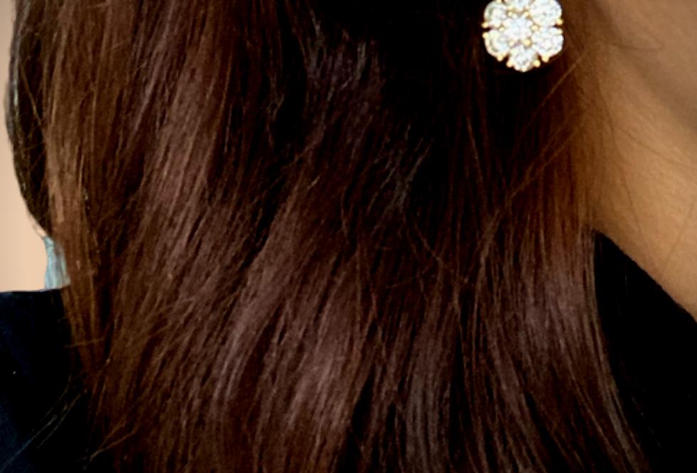 Diamond Flower Earrings Yellow Gold