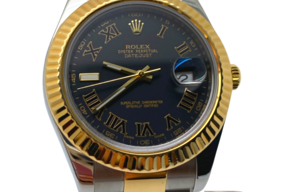 Datejust II 41mm Two Tone Black Dial