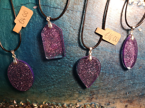 Purple & Glitter Resin Necklaces