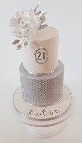 21st Birthday - Silver and White with Sugar Flower