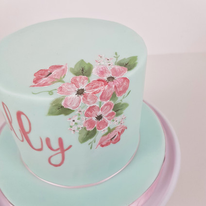 12th Birthday - Floral Painted Cake