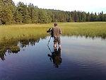 Filming in lake