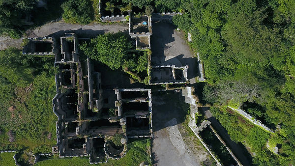 Aerial look down on derelict castle