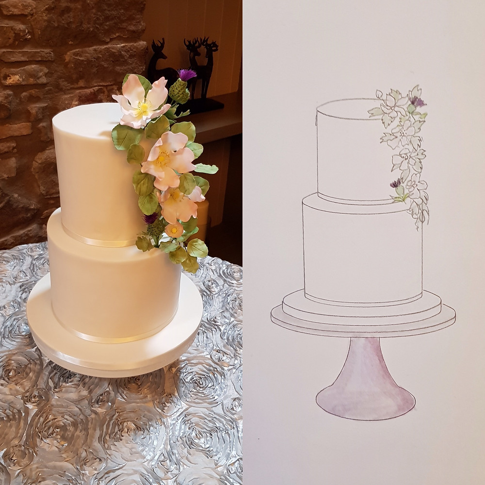Two-tiered wedding cake with sugar flower cascade from upper to lower tier.