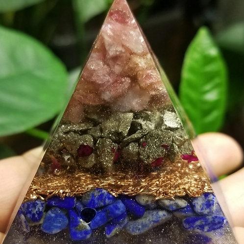 Pink Tourmaline, Pyrite,  Lapis Lazuli  Mini
