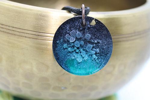 Teal & Black Ink Splash Pendant
